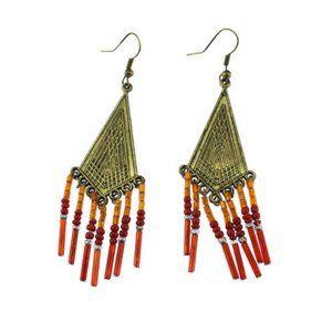 Brass Red Bead Fringe Dangle Earrings